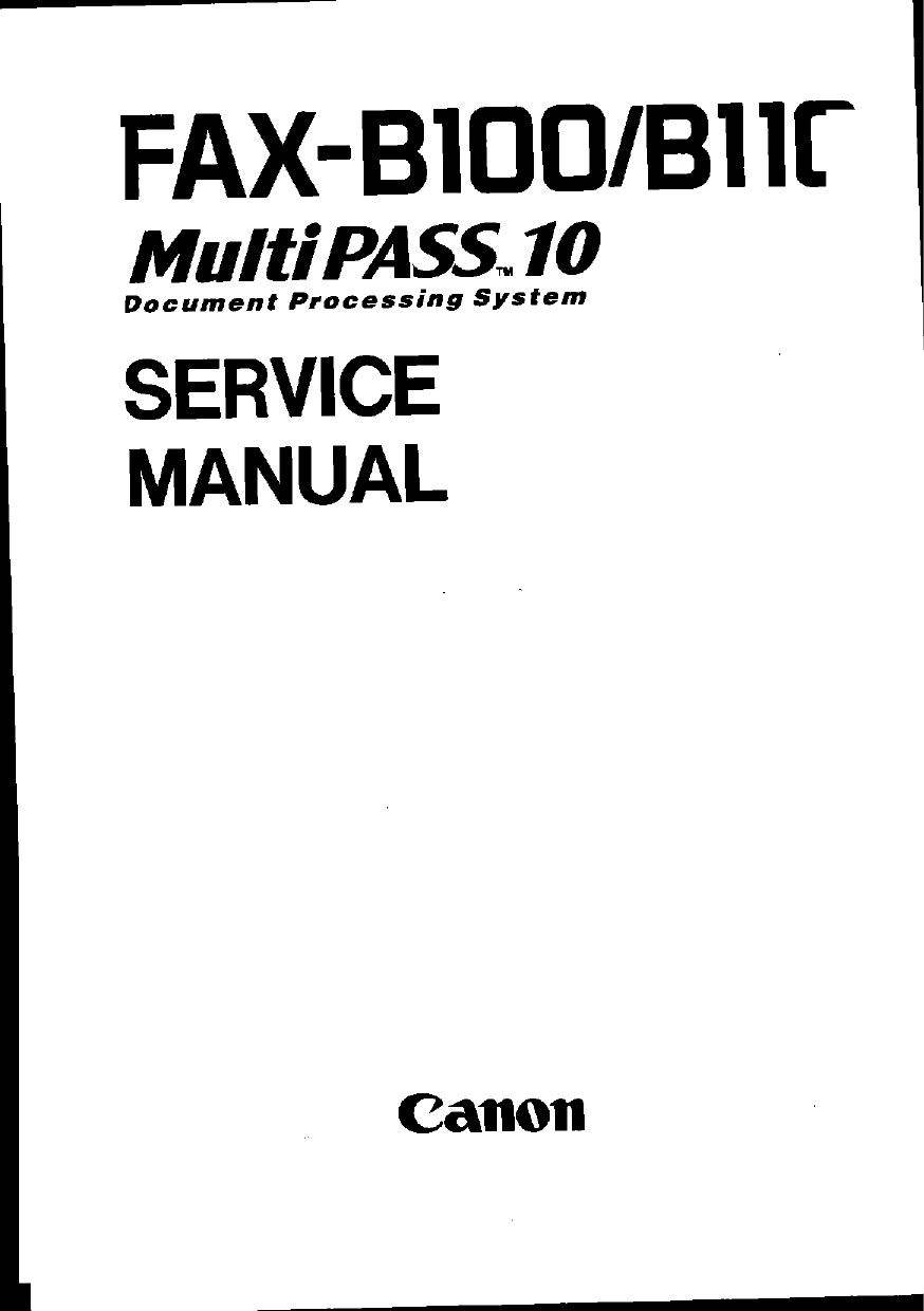 Canon FAX FP-B100 MultiPass-10 Parts and Service Manual-1